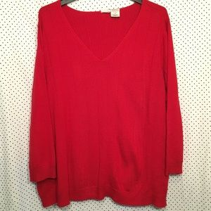 Red V Neck Long Sleeve Pullover Sweater